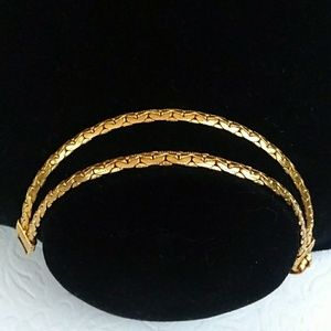 VINTAGE Gold Plated Double Chain Bracelet